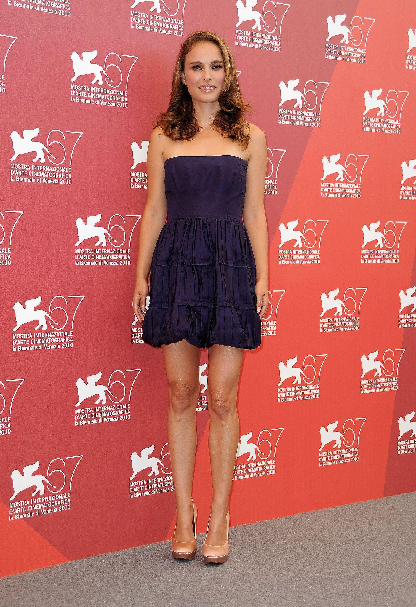 natalie portman in royal purple minidress at the 2011