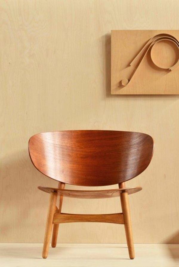 50er Jahre Möbel skandinavische möbel holz stühle hans j wegner shell chair 50er
