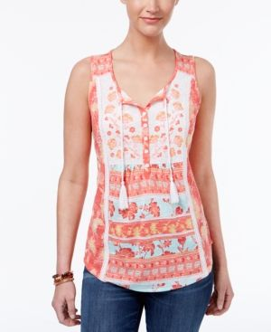 258386084c156 Style   Co Petite Printed Embroidered Tassels Top