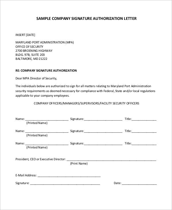sample authorization letter examples word pdf for company - example of authorization letter