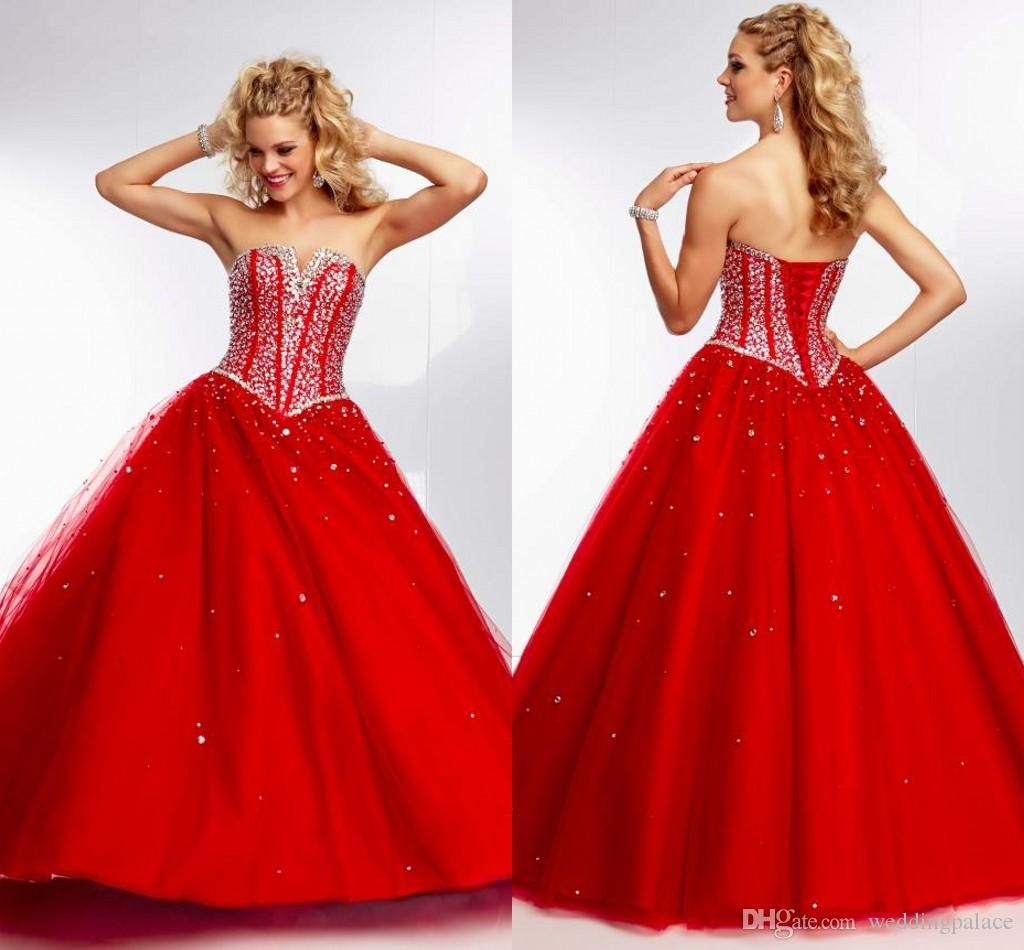 Latest Ball Gowns Long 2015 Red V-neck Quinceanera Dresses Crystal ...