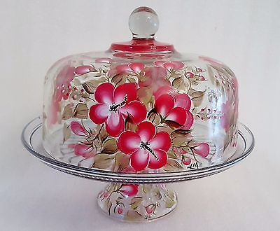 Cake Plate And Lid Glass Pedestal Stand Punch Bowl Red Floral Hand Painted & Cake Plate And Lid Glass Pedestal Stand Punch Bowl Red Floral Hand ...