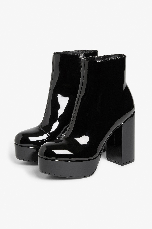 Monki Patent platform boots in Black