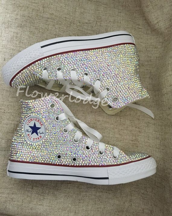 56a8157bad251 Rhineston Converse Shoes, high top converse toddle Shoes Wedding ...