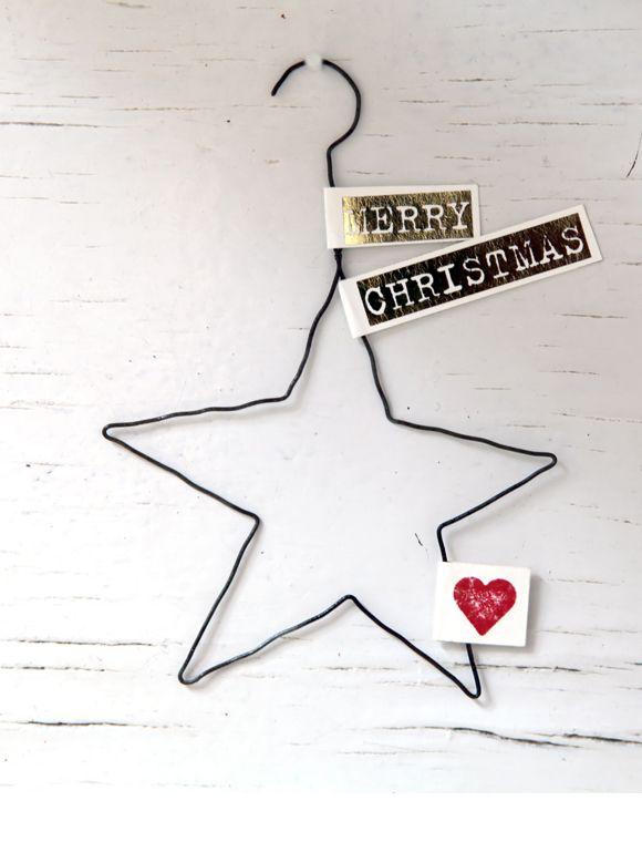 Drahtanhänger Weihnachten mit Text Zart und sehr niedlich, kleine Weihnachtsanhänger mit kleinen, feinen Botschaften für Geschenke, Kranz oder den Tannenbaum.