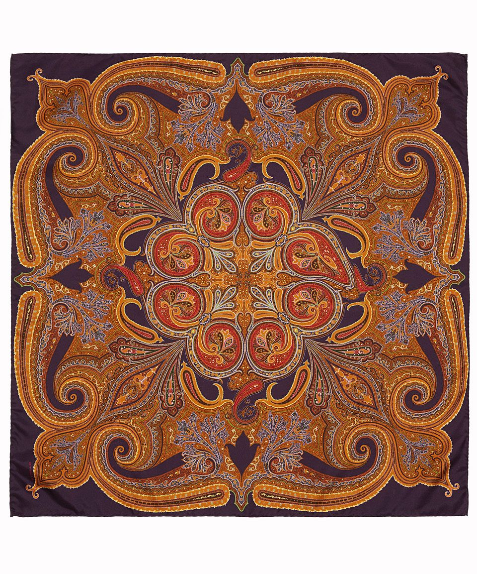 Fliesen Wildes Muster: Etro Small Burgundy Paisley Silk Scarf
