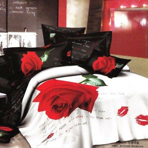 Queen Size 100 Cotton 4 Pieces 3d Unique Big Red Rose Black And White Kiss Floral Prints Duvet Cover Rose Duvet Cover Floral Bedding Sets Floral Print Bedding