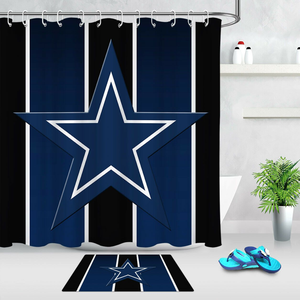 Details About Abstract Pattern Texas Star Deep Blue Stripes Shower