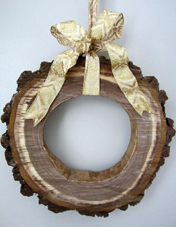 Dekoideen mit Holzquerschnitt kranz wanddekoration selber machen - wanddekoration selber machen
