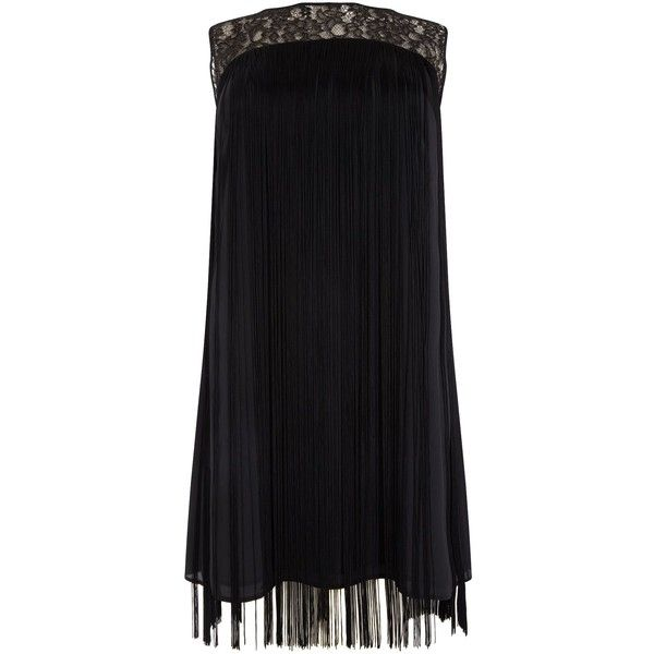 Studio 8 Fiamma fringe dress ($125) ❤ liked on Polyvore featuring dresses, black, clearance, fringe dress, lace panel dress, going out dresses, party dresses and key hole dress