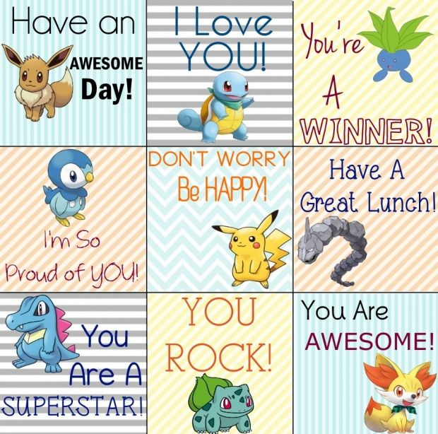 Pokemon Printable Lunch Notes For Your Little PokeMaster