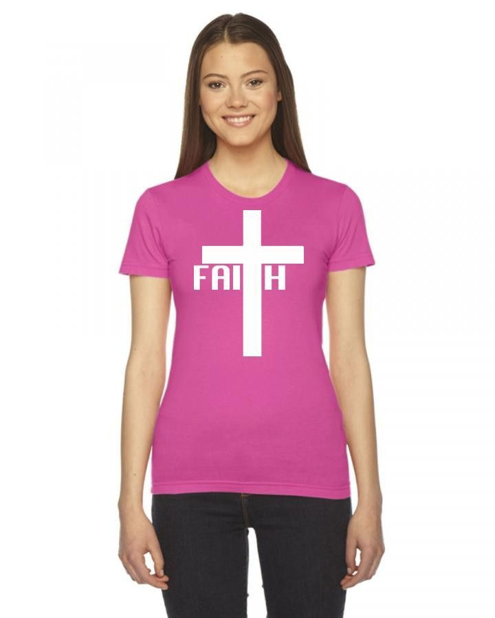 faith cross w Ladies Fitted T-Shirt