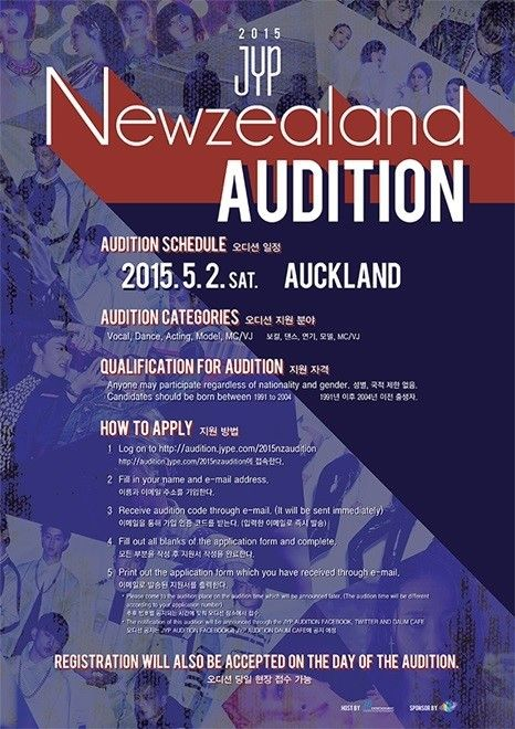 Jyp Is Holding An Audition In Auckland Newzealand On May 2nd 2015 Want To Become A K Pop Star For More Information A K Pop Star Music Lovers Kinds Of Music