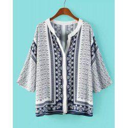 Casual Style V-Neck 3/4 Sleeve Retro Print Women's Blouse
