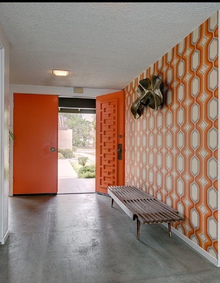 Orange geometric mid century modern doors midcentury for Midcentury modern la
