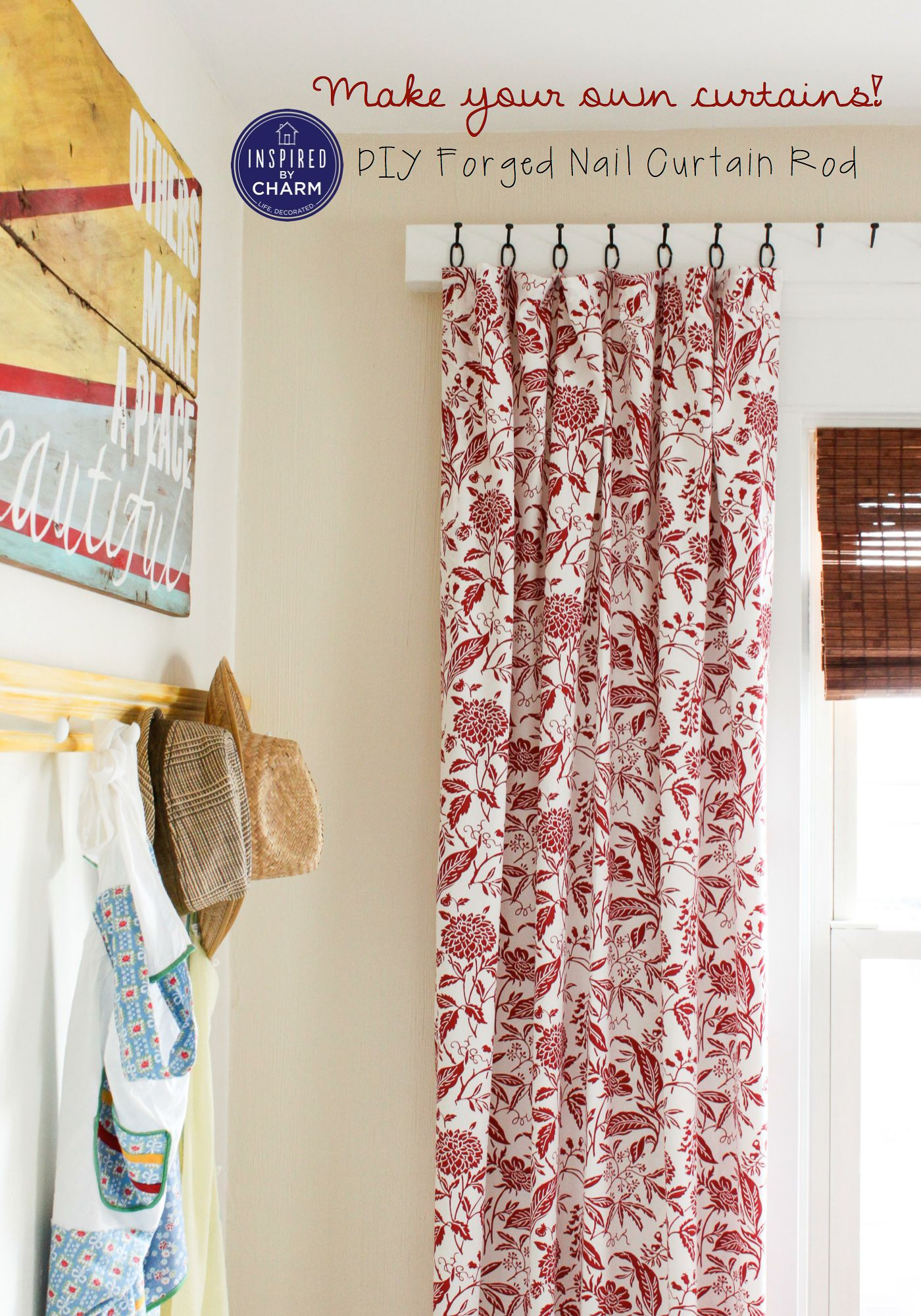 Diy Curtains And Forged Nail Rod This Post Is Just Brilliant So Many Clever Ideas How To Create A Curtai Diy Curtains Diy Window Treatments Home Decor
