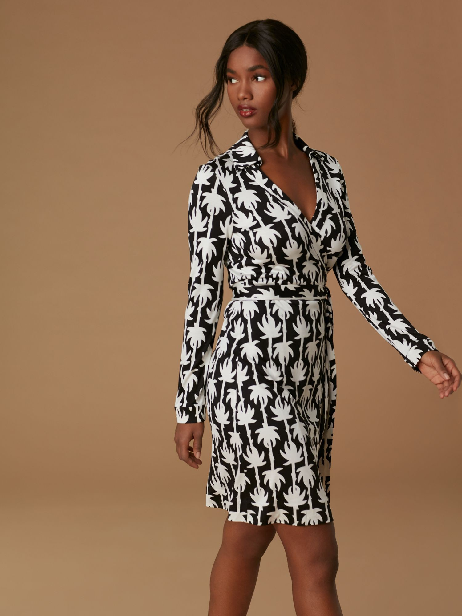 5d74fa89063dd Diane Von Furstenberg Dvf New Jeanne Two Silk Jersey Wrap Dress - Chainlink  Medium Sienna 12