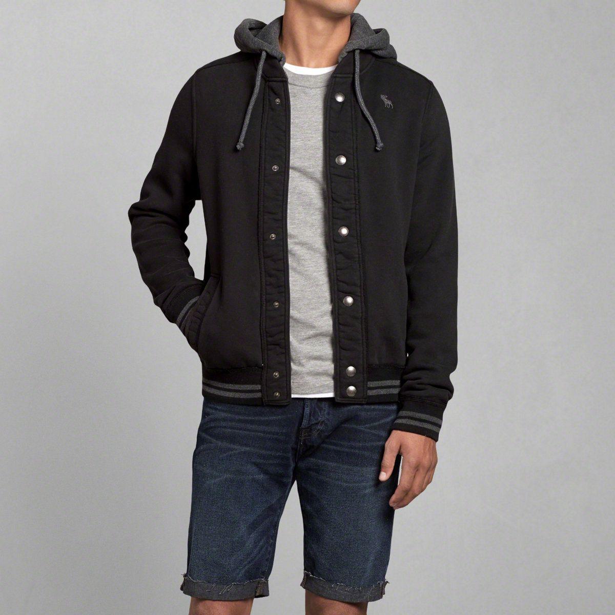 Mens Iconic Hooded Baseball Jacket | Mens Hoodies & Sweatshirts ...
