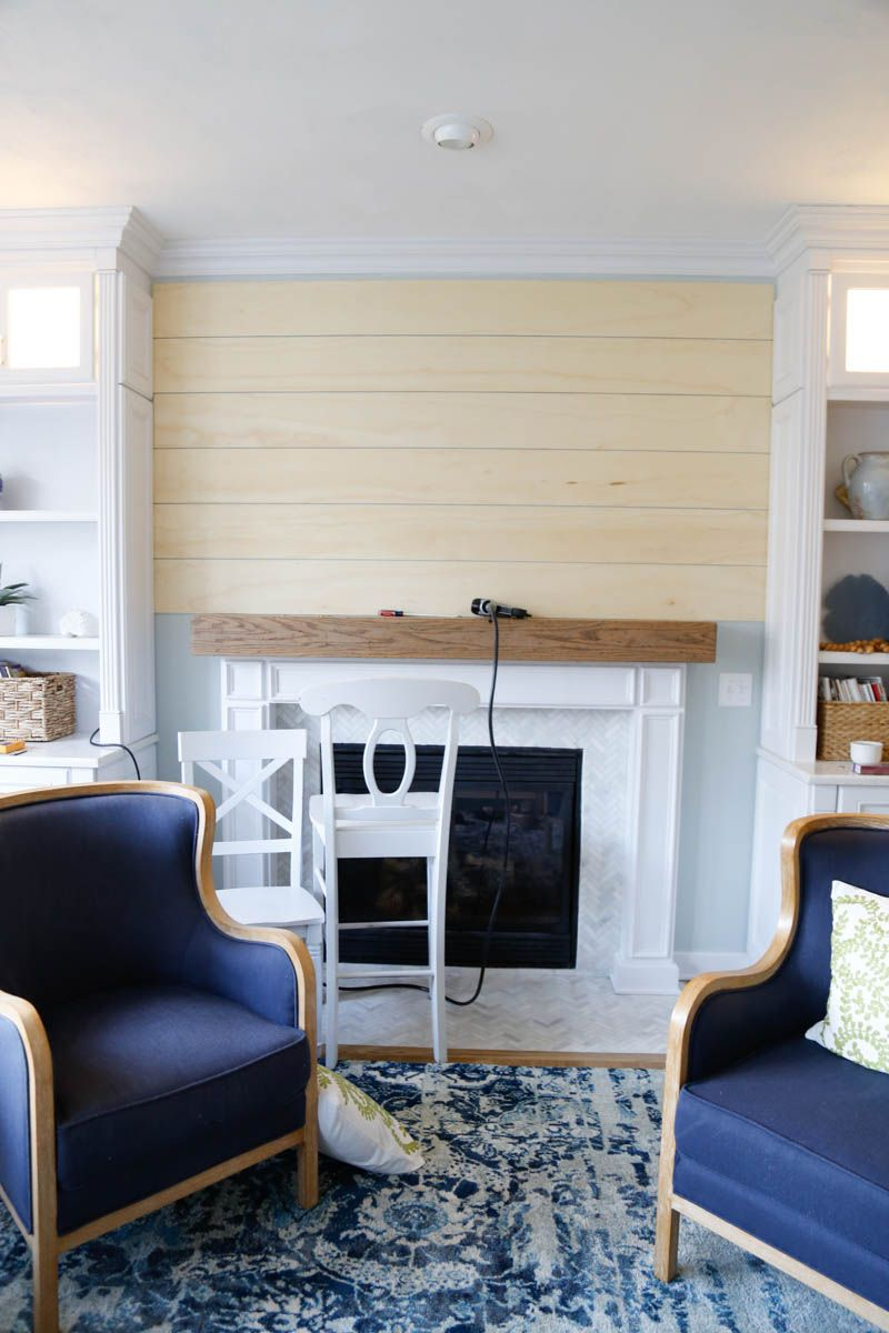 Easy and Inexpensive Shiplap Fireplace Wall in 2020