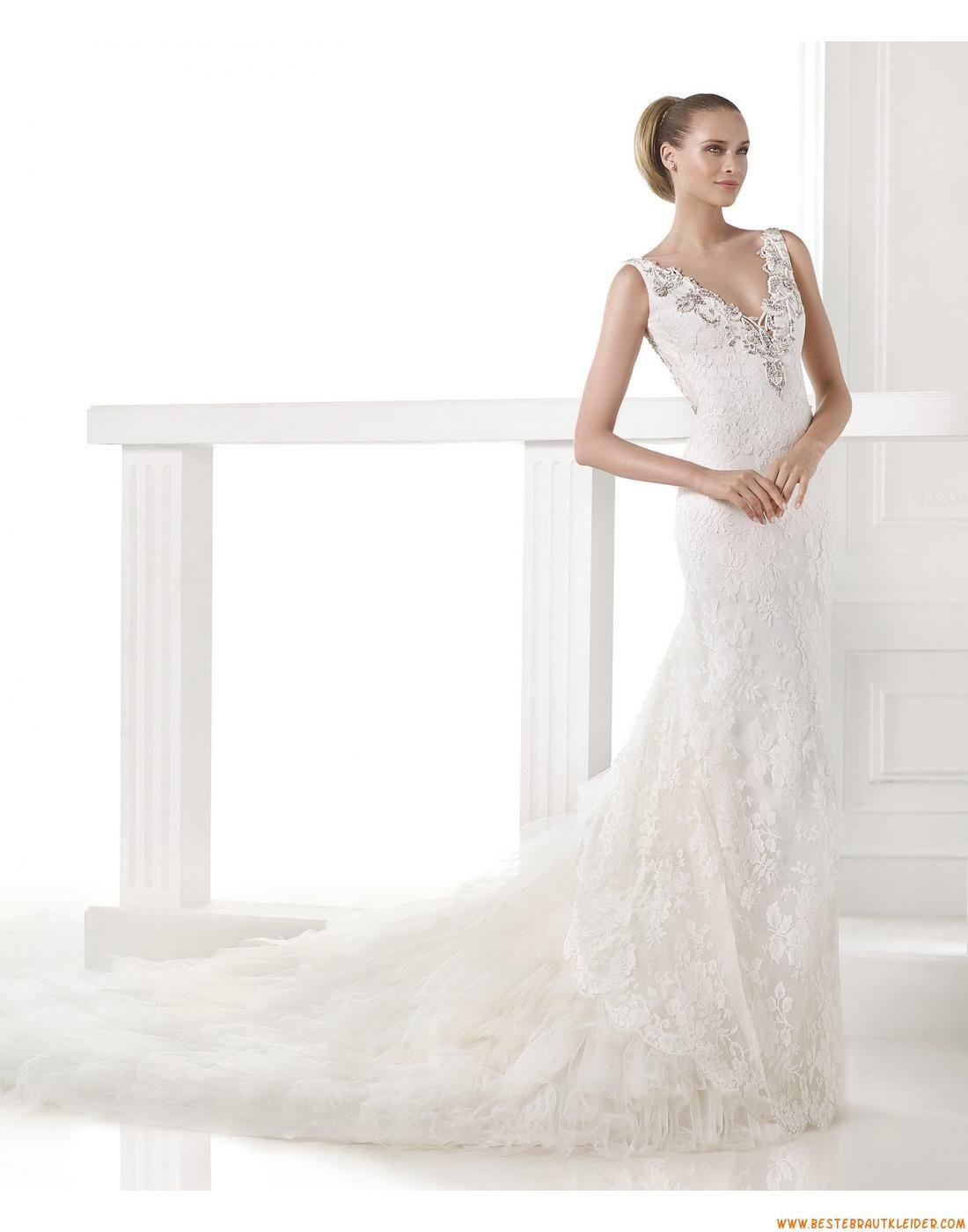 2015 Sexy Luxuriöse Besondere Brautkleider aus Softnetz mit Perlenstickerei