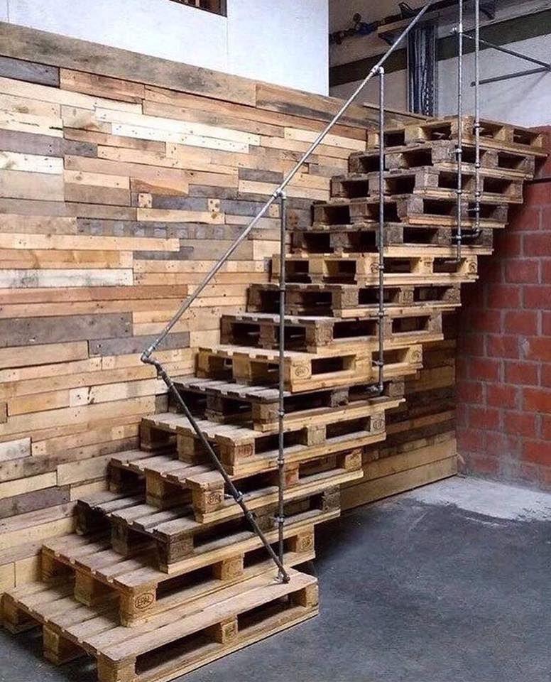 Escalier Palettes Idees Palettes En 2019 Pallet Stairs Interior