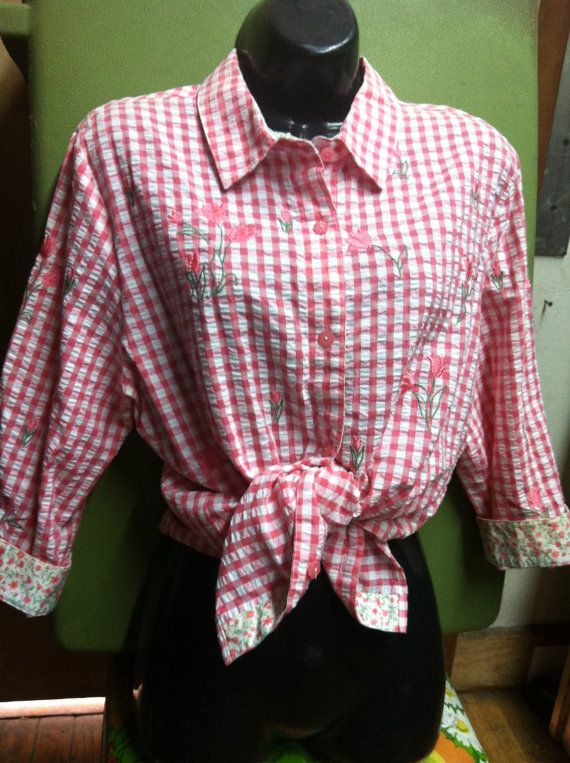 Vintage Women's Blouse L Pink White Plaid by Heidisvintageshop, $14.99