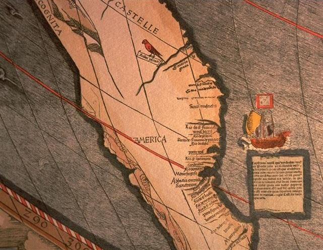 After reading reports from amerigo vespucci about the new world 1507 world map detail showing the first use of the name america way before certain country existed or its territory was colonized gumiabroncs Gallery