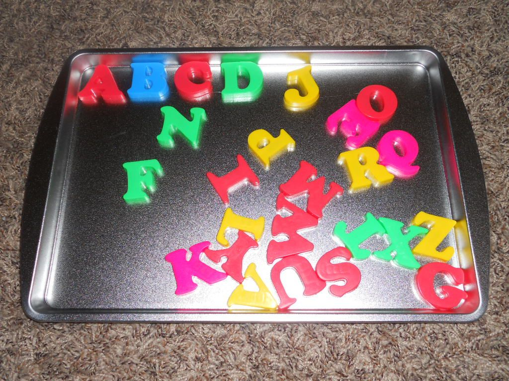 Magnet Alphabet On Cookie Sheet