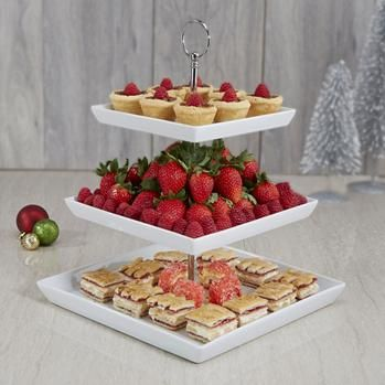 Ksp Plateau Serving Platter 3 Tier 17 21 25 Cm Sqr White Kitchen Stuff Plus With Images Tiered Serving Trays Food Serving Trays Serving Platters