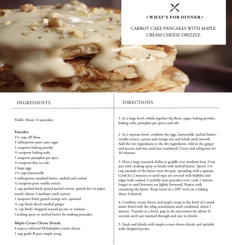 Carrot Cake Pancakes with Maple Cream Cheese Drizzle.  Bobbyflay.com