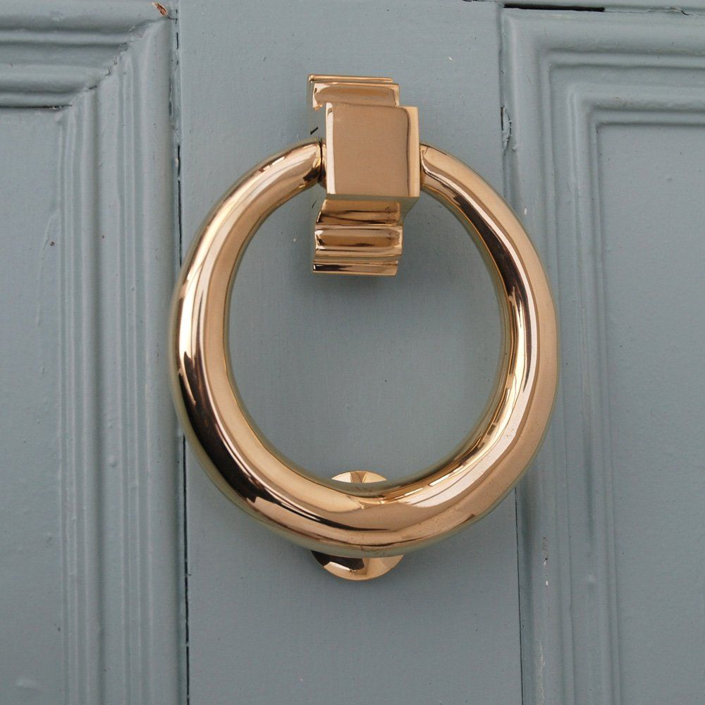 Front Door Accessories: Brass Hoop Door Knocker