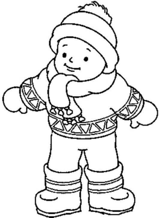 Little Boy Wearing Winter Clothes Coloring Page  Dibujos de