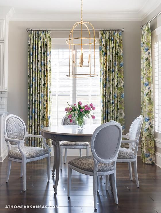 Fabulous Dining Room Features A Gold Leaf Lantern Illuminating Round French Table Lined With