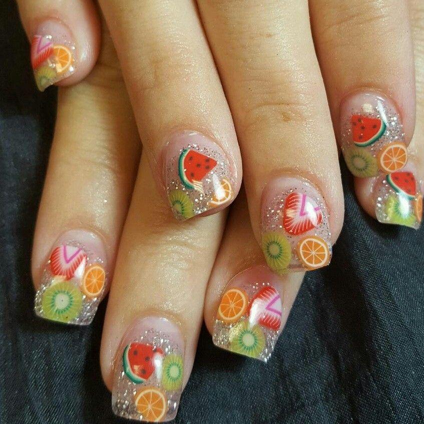 Fruit Embeds Acrylic Nails Fruit Nail Art Nail Art Nails