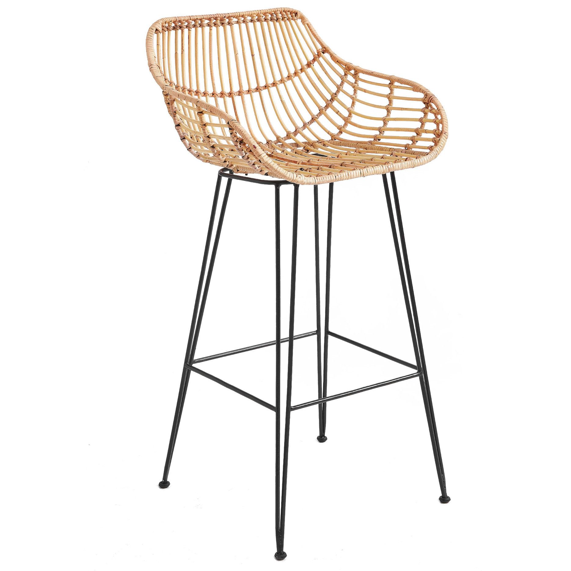 Rattan Iron Low Back Barstool By One World Get It Now Or Find
