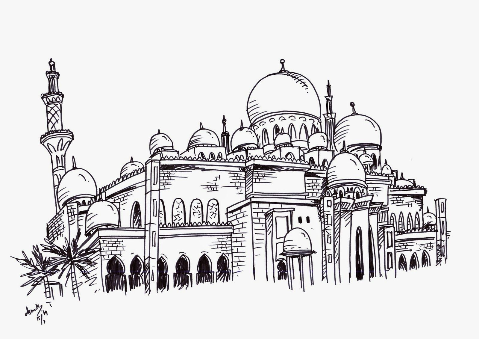 Sheikh Zayed Grand Mosque Abu Dhabi Mosque Drawing