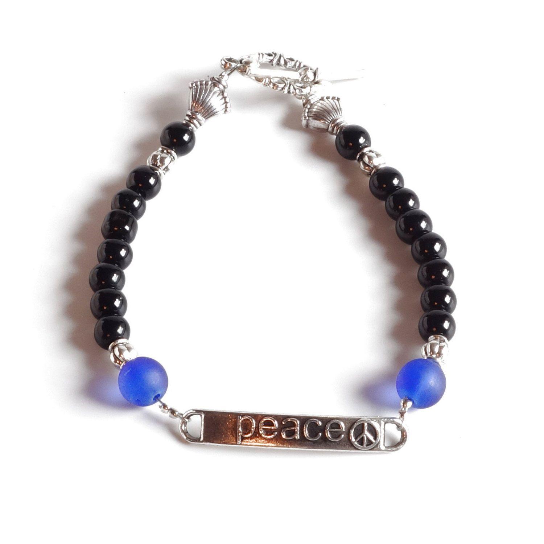 Women's Beaded Bracelet BLACK & BLUE with PEACE Blue Lives Matter by…