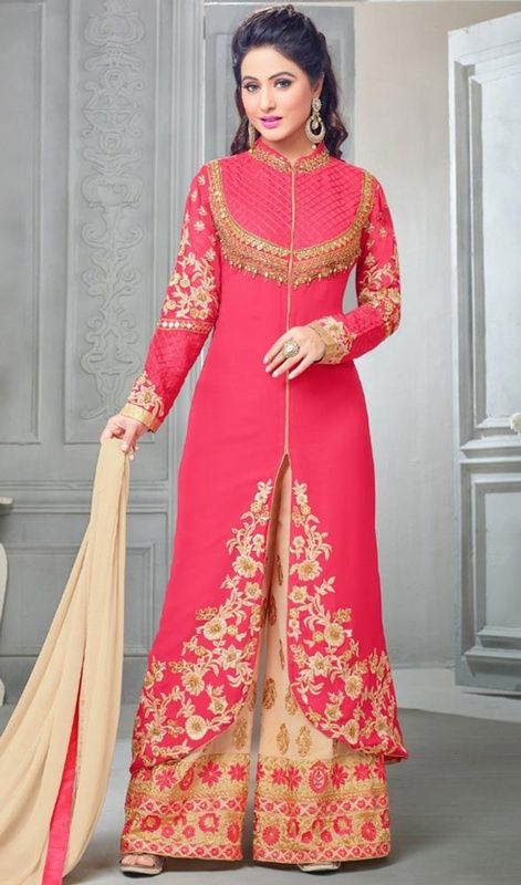 Palazzo Indian Suits Pink Color Embroidered Georgette