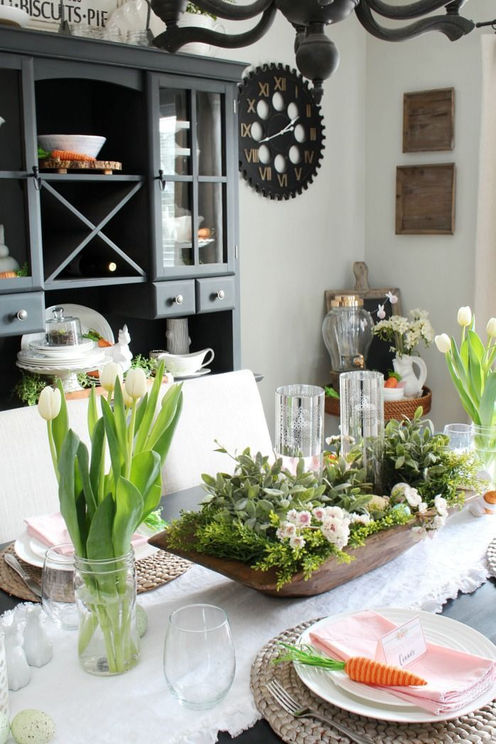 Easter Table Decor Ideas Inspired By Spring And Nature Dining Room Table Centerpieces Dining Room Centerpiece Dining Room Table Decor