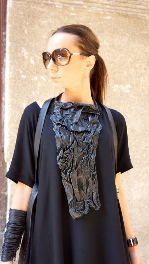 NEW Collection SS/15 Black Extravagant Leather Necklace   by AAKASHA A16227