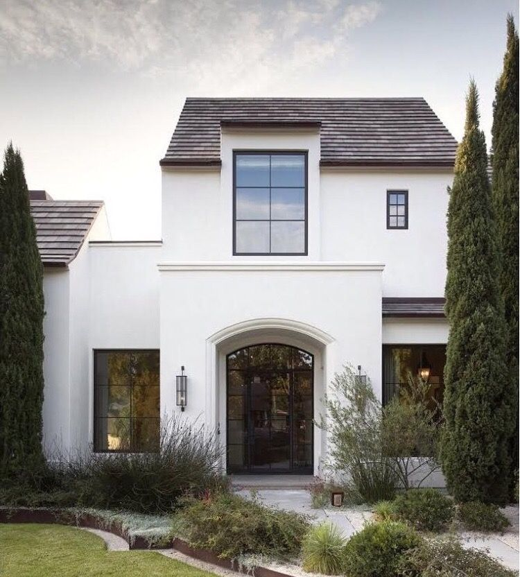 Stucco Modern Farmhouse Exterior White Stucco House