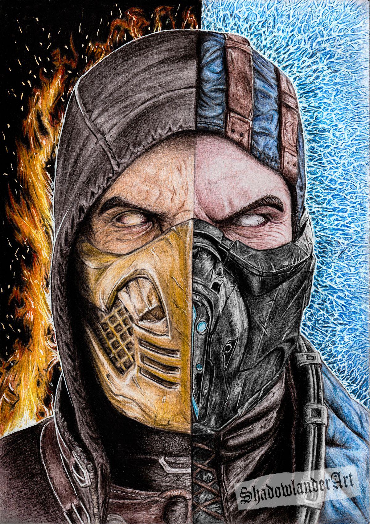Mortal Kombat Scorpion Vs Sub Zero Drawing Art Print Mortal Kombat Art Mortal Kombat Drawings Sub zero vs scorpion mortal kombat