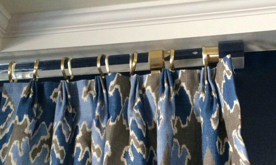 2 Dia 73 142 Custom Lucite Curtain Rod W 3 Qty Brass Or