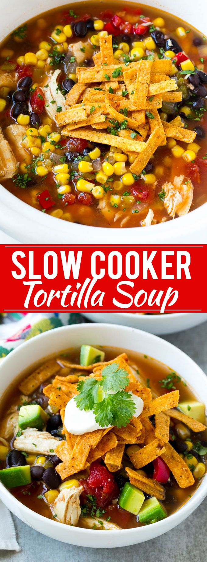 Slow Cooker Chicken Tortilla Soup Recipe  | Posted by: DebbieNet.com #chickentortillasoup