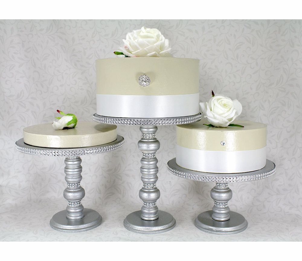 3 Silver Cake Stands Set. Round Wooden & by DazzlingGRACE on Etsy ...