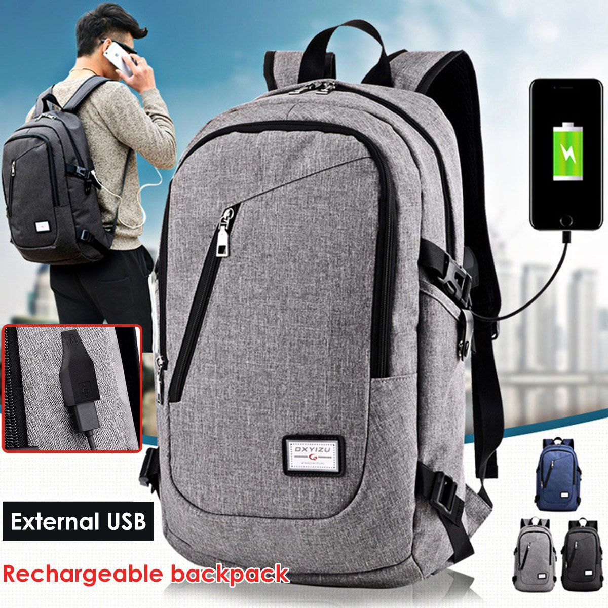 USB Charging Backpack Anti-theft Mens Womens Laptop Notebook Travel School Bag