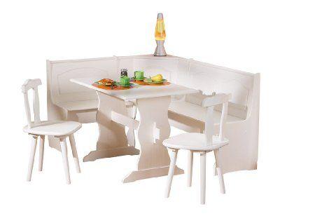 Angolo soggiorno tinello cucina pino bianco con panca tavolo