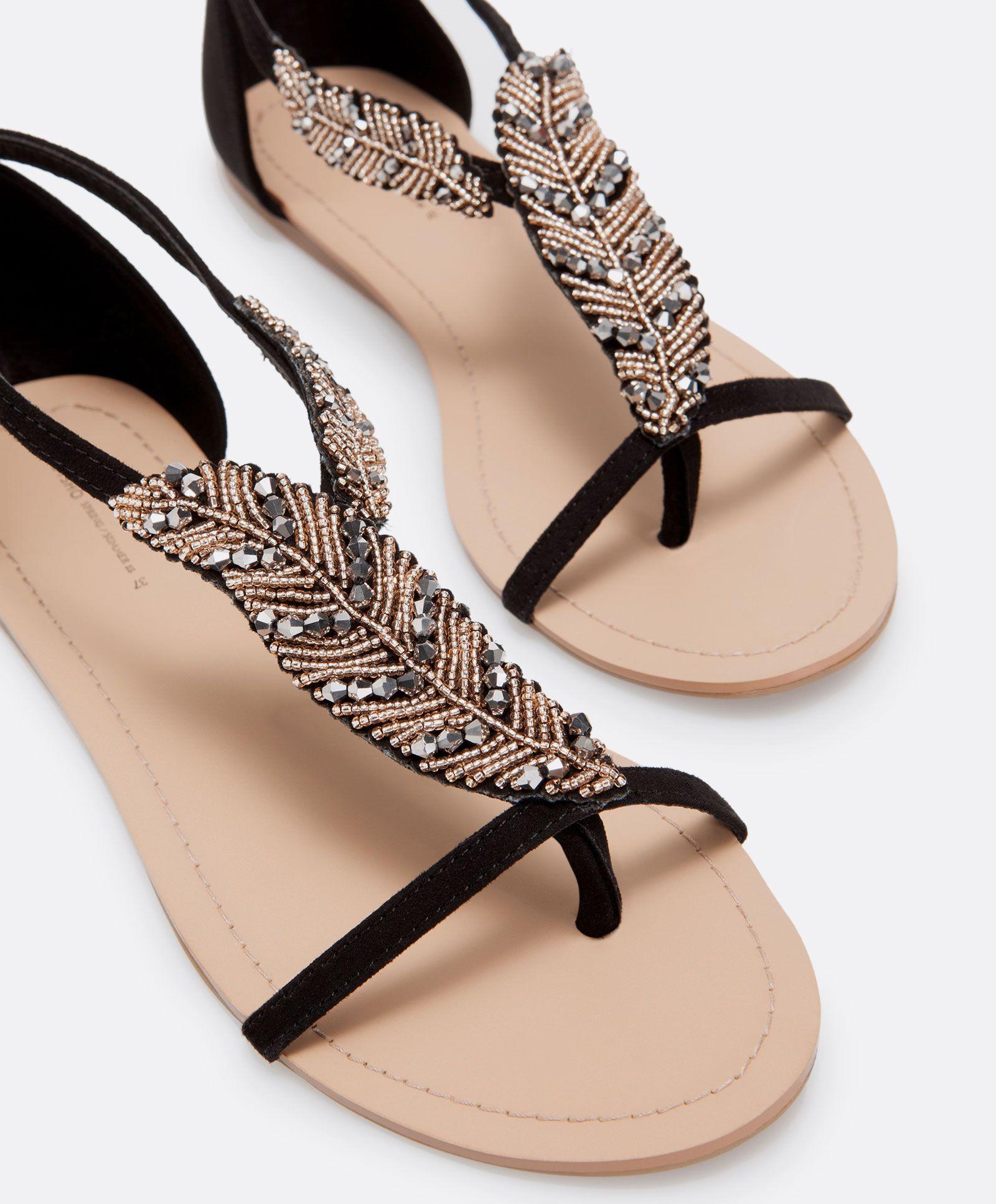 Sandales feuille perles, null€ - null - Collection Automne-Hiver OYSHO  online. Voir cette épingle et d'autres images dans SANDALES SHOES ...
