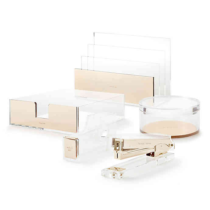 Kate Spade New York Strike Gold Desk Accessory Collection In 2020 Kate Spade Desk Accessories Desk Organization Office Desk Accessories Office