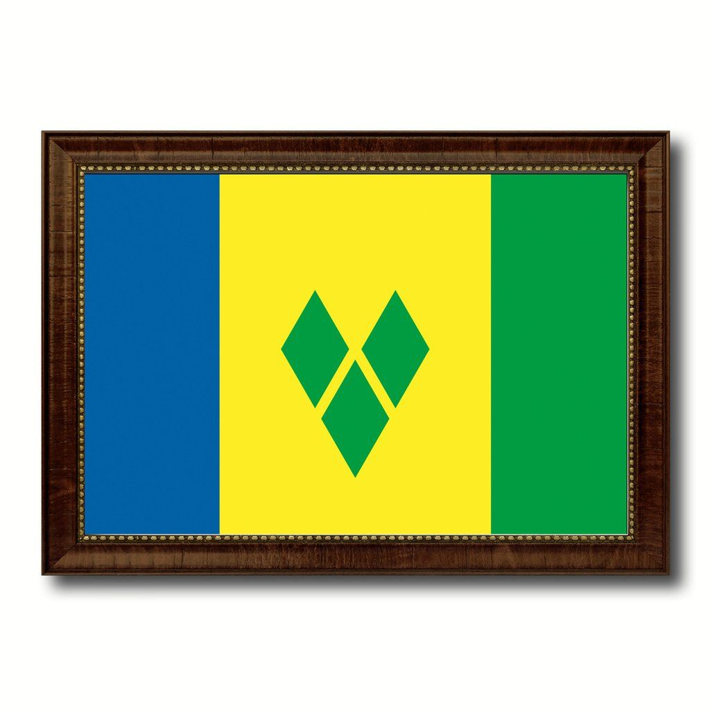 Saint Vincent & the Grenadines Country Flag Canvas Print with Brown ...